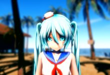 sailor miku sea side