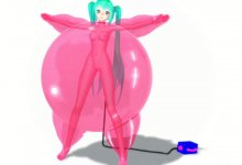 Miku latex suit balloon inflation