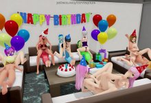A Happy Birthday Orgy (Yuri Bondage Sex/Foot Fetish)